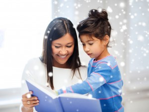 child-reading-to-mom-holiday-background